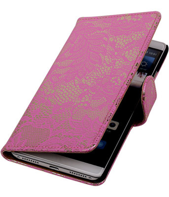 Roze Lace Booktype Hoesje voor Huawei Mate S Wallet Cover