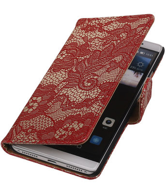 Rood Lace Booktype Hoesje voor Huawei Mate S Wallet Cover