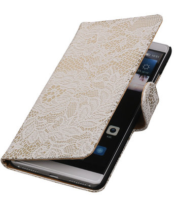 Wit Lace Booktype Hoesje voor Huawei Mate S Wallet Cover