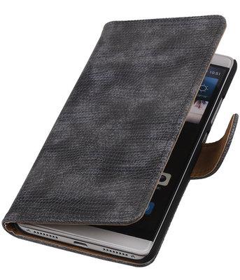 Grijs Mini Slang Booktype Hoesje voor Huawei Mate S Wallet Cover