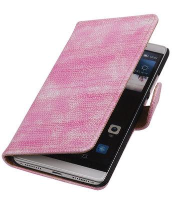Roze Mini Slang Booktype Hoesje voor Huawei Mate S Wallet Cover