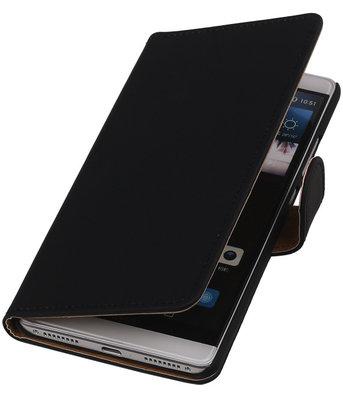 Zwart Effen Booktype Hoesje voor Huawei Mate S Wallet Cover