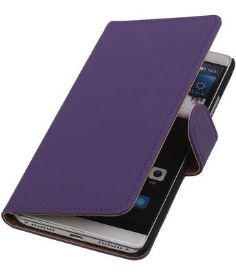 Paars Effen Booktype Hoesje voor Huawei Mate S Wallet Cover