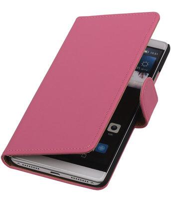 Roze Effen Booktype Hoesje voor Huawei Mate S Wallet Cover
