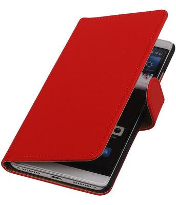 Rood Effen Booktype Hoesje voor Huawei Mate S Wallet Cover