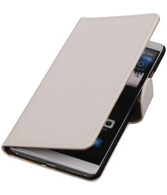 Wit Effen Booktype Hoesje voor Huawei Mate S Wallet Cover