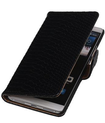 Zwart Slang Booktype Hoesje voor Huawei Mate S Wallet Cover