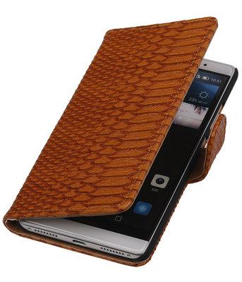 Bruin Slang Booktype Hoesje voor Huawei Mate S Wallet Cover