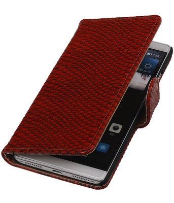 Rood Slang Booktype Hoesje voor Huawei Mate S Wallet Cover