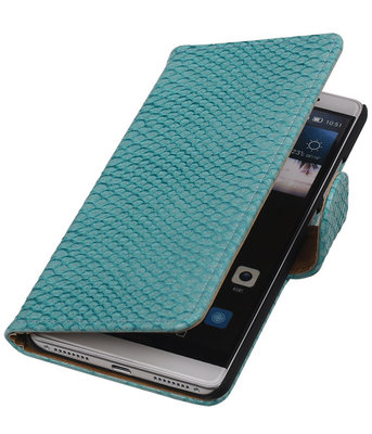 Turquoise Slang Booktype Hoesje voor Huawei Mate S Wallet Cover