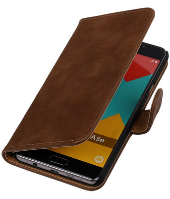 Bruin Bark Hout Booktype Samsung Galaxy A7 2016 Wallet Cover Hoesje