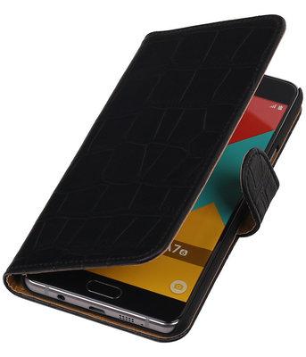 Zwart Krokodil Booktype Hoesje voor Samsung Galaxy A7 2016 Wallet Cover