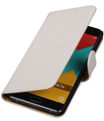 Wit Krokodil Booktype Hoesje voor Samsung Galaxy A7 2016 Wallet Cover