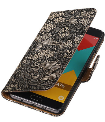 Zwart Lace Booktype Samsung Galaxy A7 2016 Wallet Cover Hoesje