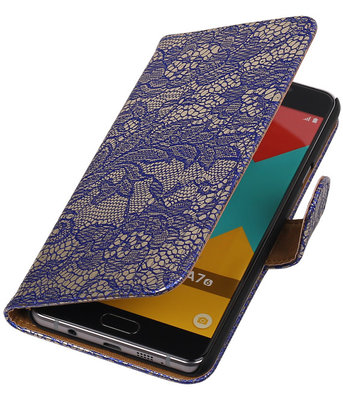 Blauw Lace Booktype Samsung Galaxy A7 2016 Wallet Cover Hoesje