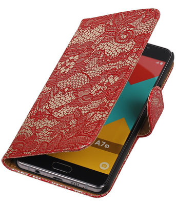 Rood Lace Booktype Samsung Galaxy A7 2016 Wallet Cover Hoesje