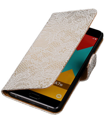 Wit Lace Booktype Hoesje voor Samsung Galaxy A7 2016 Wallet Cover