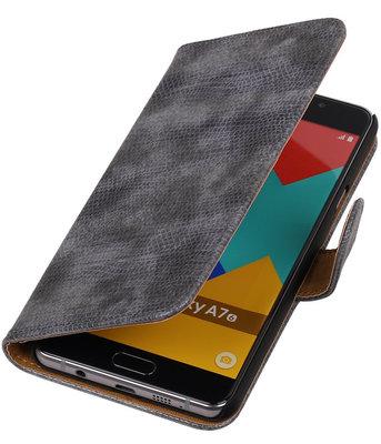 Grijs Mini Slang Booktype Hoesje voor Samsung Galaxy A7 2016 Wallet Cover