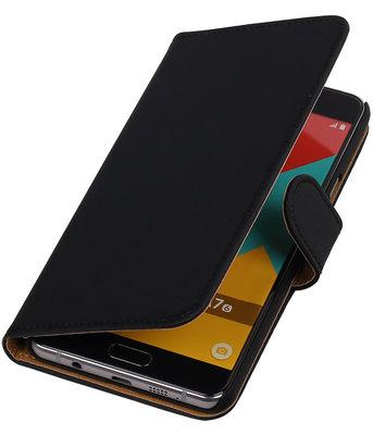 Zwart Effen Booktype Hoesje voor Samsung Galaxy A7 2016 Wallet Cover