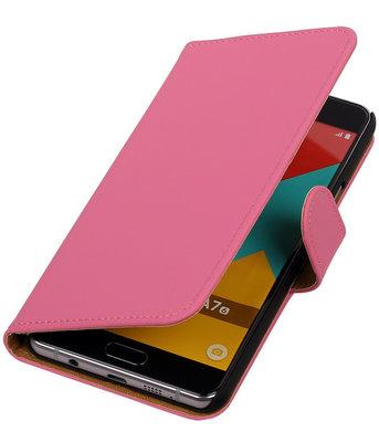 Roze Effen Booktype Hoesje voor Samsung Galaxy A7 2016 Wallet Cover