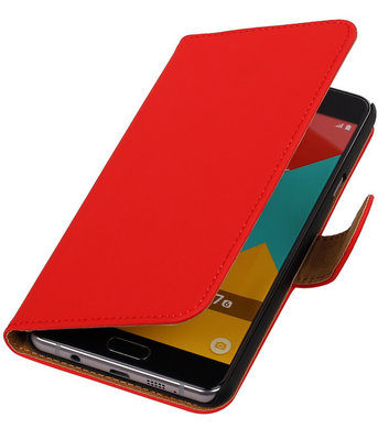 Rood Effen Booktype Samsung Galaxy A7 2016 Wallet Cover Hoesje