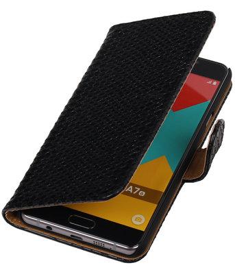 Zwart Slang Booktype Hoesje voor Samsung Galaxy A7 2016 Wallet Cover