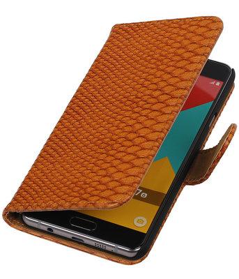 Bruin Slang Booktype Hoesje voor Samsung Galaxy A7 2016 Wallet Cover