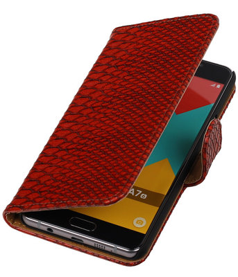 Rood Slang Booktype Samsung Galaxy A7 2016 Wallet Cover Hoesje
