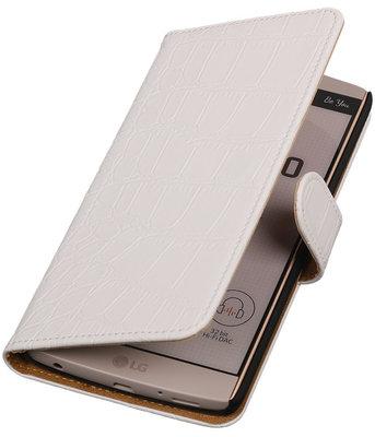 Hoesje voor LG V10 - Croco Wit Booktype Wallet