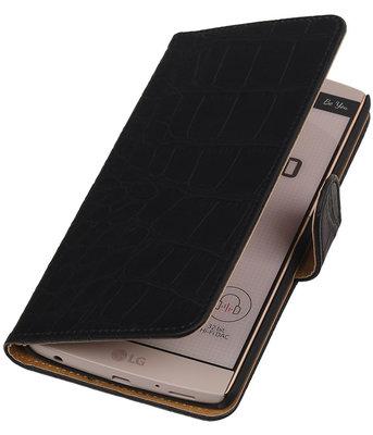 Hoesje voor LG V10 - Croco Zwart Booktype Wallet
