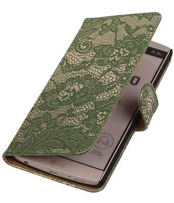 Hoesje voor LG V10 - Lace Donker Groen Booktype Wallet