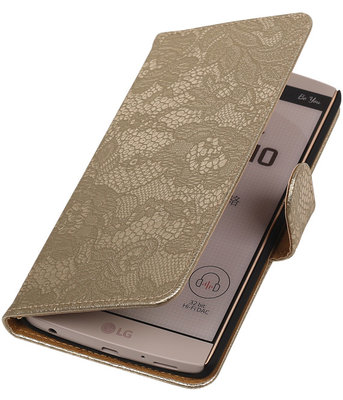 Hoesje voor LG V10 - Lace Goud Booktype Wallet