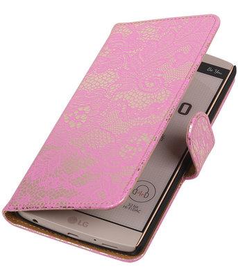 Hoesje voor LG V10 - Lace Roze Booktype Wallet