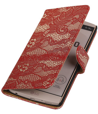Hoesje voor LG V10 - Lace Rood Booktype Wallet