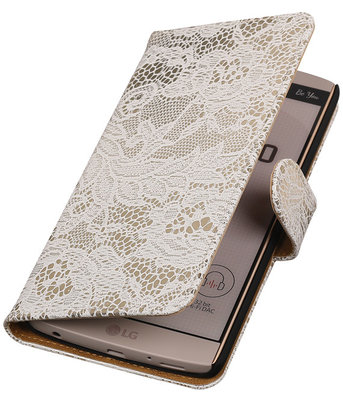 Hoesje voor LG V10 - Lace Wit Booktype Wallet