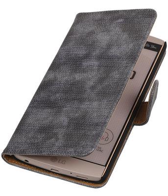 Hoesje voor LG V10 - Mini Slang Grijs Booktype Wallet