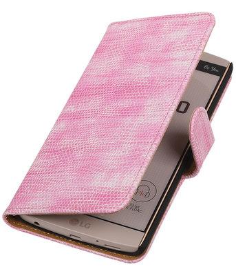 Hoesje voor LG V10 - Mini Slang Roze Booktype Wallet