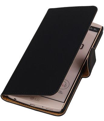 Hoesje voor LG V10 - Effen Zwart Booktype Wallet