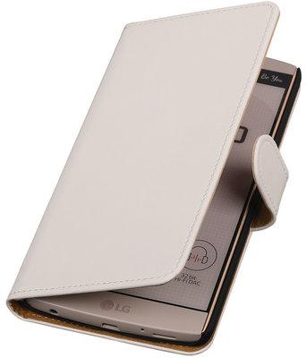 Hoesje voor LG V10 - Effen Wit Booktype Wallet