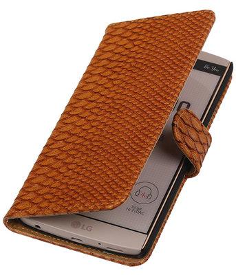 Hoesje voor LG V10 - Slang Bruin Bookstyle Wallet