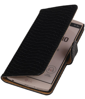 Hoesje voor LG V10 - Slang Zwart Bookstyle Wallet