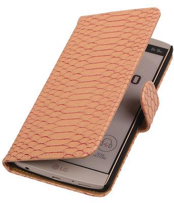Hoesje voor LG V10 - Slang Roze Bookstyle Wallet