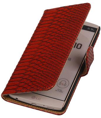 Hoesje voor LG V10 - Slang Rood Bookstyle Wallet