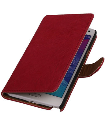 Fuchsia Hoesje voor Samsung Galaxy Note 4 Echt Lederen Wallet