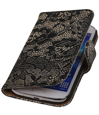 Lace Zwart Hoesje voor Samsung Galaxy Grand Neo Book/Wallet Case