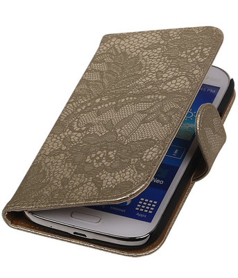 Lace Goud Hoesje voor Samsung Galaxy Grand Neo Book/Wallet Case