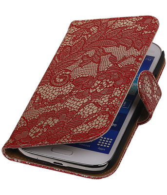 Lace Rood Hoesje voor Samsung Galaxy Grand Neo Book/Wallet Case