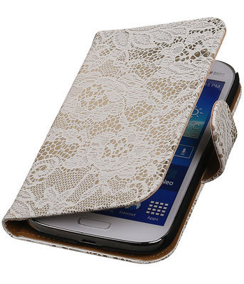 Lace Wit Hoesje voor Samsung Galaxy Grand Neo Book/Wallet Case