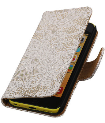 Apple iPhone 5C Lace Kant Bookstyle Wallet Hoesje Wit