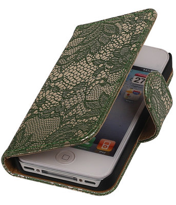 Lace Donker Groen iPhone 4 4s Book/Wallet Case/Cover